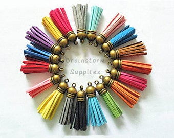 Tassels - Small Tassels - 10 or 25 Bronze Cap, Assorted Colors - Tassels For Jewelry - Key Chain Tassel Charms - Purse Tassel - TC-B001