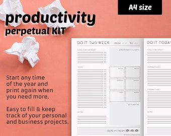 TO-DO lists. Printable productivity and personal organization kit: events calendar, week planner, year planner, daily planner -perpetual set