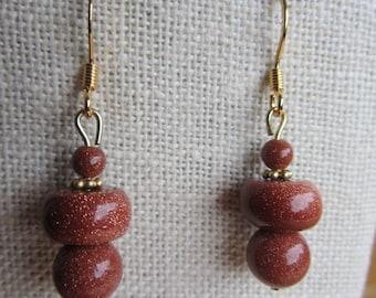 Goldstone bauble earrings