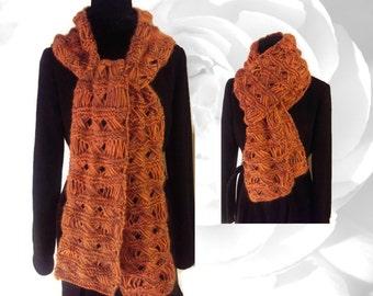 Orange Scarf, Brown Scarf, Multicolor Scarf, Orange and Brown Scarf, Winter Scarf, Warm Scarf, Knitted Scarf, Soft Scarf, Knitting