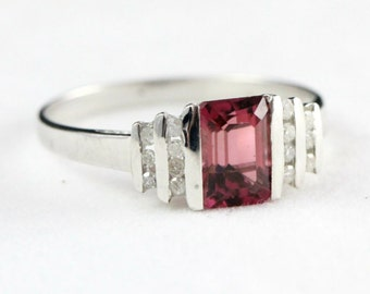 Ruby and diamond ring in 10 carat white gold for her