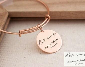 40% OFF* NEW Design SALE -- Engraved Signature Disc Bracelet - Actual Handwriting Bracelet - ...
