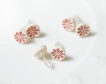 Light pink earrings Tiny stud earrings Pink flower earrings Porcelain earrings Mini stud Ceramic post Sterling silver earrings girls jewelry