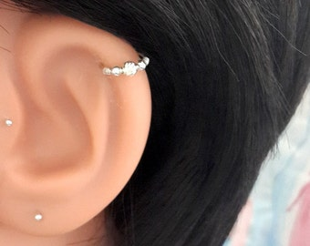 Silver Helix Ring - Beaded Cartilage Earring - Tiny Nose Hoop - 18-22 Gauge - 7-12mm Inner Diameter - Helix Jewelry - Tragus  - Septum Ring