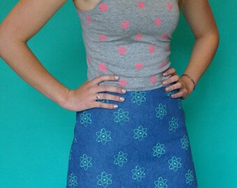 All over Atom Print denim A-line skirt