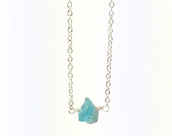 Raw Apatite Necklace, Raw Stone Necklace, Natural Crystal, Blue Gemstone, Rough, Nugget, Healing, Minimalist, Edgy, Silver Necklace