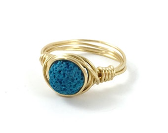 Diffuser Jewelry, Lava Diffuser Ring, Essential Oil Diffuser Wire Wrapped Ring, Stone ring, Gemstone, Teal, Bridesmaid Gift, Gold, Silver