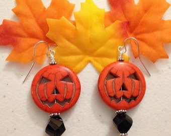Pumpkin, Jack-O-Lantern, Halloween Bold Magnesite Drop Earrings with Faceted Black Glass Beads