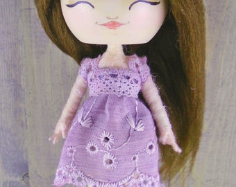 Bear girl doll, doll ornament, brown hair doll