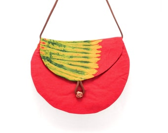 Crossbody Hip Bag, Fabric Purse, Red and Gold, Made in Rwanda, Hippie Style Bag, Shoulder Bag, Crossover Purse, Ethnic Fabric Bag