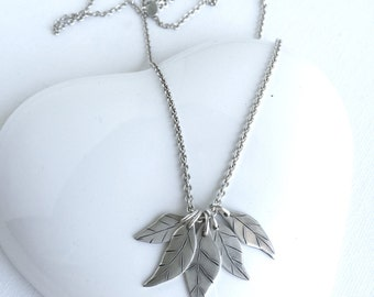 Silver necklace.  Silver leaf necklace.  Handmade silver leaf necklace. 5 leaves left necklace