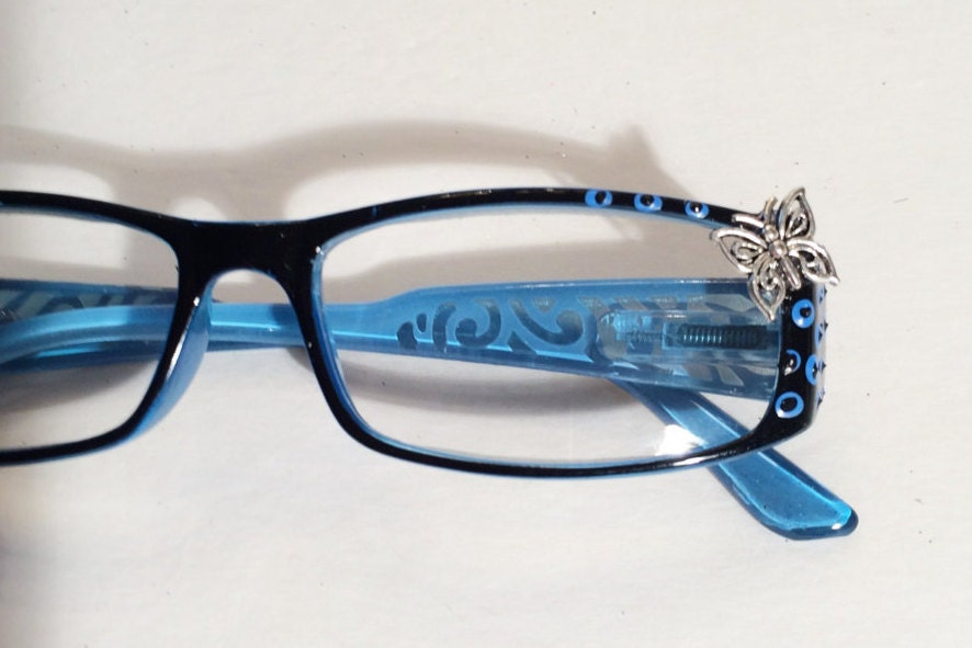 Butterfly reading glasses 3.00 Blue frames Hand painted