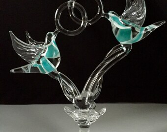 Handblown Glass Doves Holding Rings Cake Top Sculpture