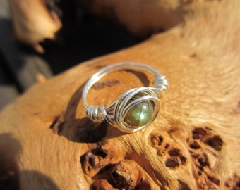 Sterling Silver Gemstone Ring, Healing Stones, Wire Wrapped Ring, Chakra Ring, Crystal Ring, Unique Ring, Gifts for Her.
