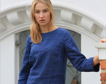 Wool linen blouse / linen top / Natural linen blouse / Linen shirt / Loose linen sweater / Flax summer shirt