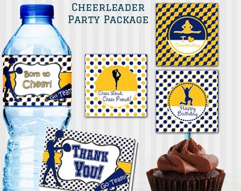 Cheerleader Party Decorations Package, Choose your colors, Birthday Party, Cheerleader birthday, Cheerleader Party, Printable Package