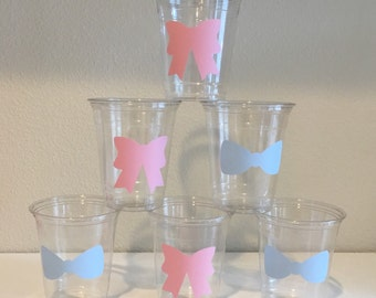 Bow & Bowtie Party Cups -  Baby Shower Plastic Cups - Twins Reveal - Congrats New Baby - Baby Boy - Baby Girl - His and Hers - Bows and Bros