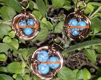 Birds Nest Wire Wrapped Pendant & Earrings