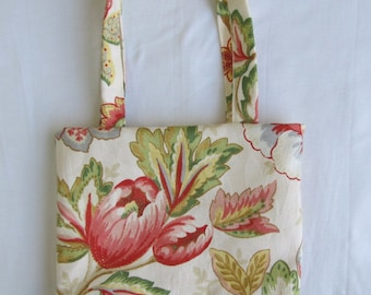Small Tote/ Hostess Gift Bag- Cream Floral