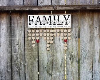 Family Birthday Board, Family Calendar, Family Celebrations Board, Family Birthday Sign, Birthday Reminder, Calendar Sign, Gift for Mom