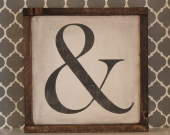Ampersand square wood sign