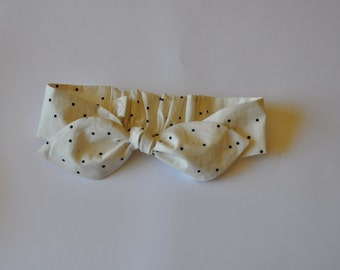 Girls Top Knot Headband  Cream and Black
