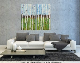 "Landscape Birch tree Forest painting, Palette knife Abstract, Acrylic Impasto, Trees Textured Painting, Modern wall art, Birches  24""."