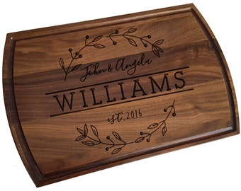 Custom Cutting Board, personalized cutting Board with Juice groove ,Wedding Monogram,  kitchen sign (164)