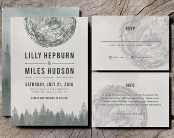 Mountain Wedding Invitation Suite Set, formal RSVP, info card, envelope, band - forest oak tree rustic wedding retro outdoors woodland woods