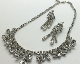 Vintage Sherman Necklace & Long Dangling Earrings  Swarovski Wedding Bridal Mother Of The Bride Gift Christmas Gift Stocking Stuffer