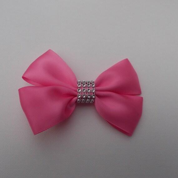 Rose Pink Satin Hairbow