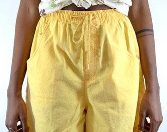 Vintage Yellow Drawstring Shorts