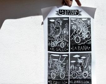 La Loteria BICAS - Bicycle Woodcut Screenprint Poster / Black and White