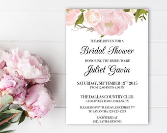 Traditional bridal shower invitations, Floral bridal shower invitation, Printable invites, Elegant invitations, Calligraphy bridal shower