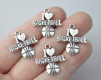 8 Pcs Basketball Charms Basketball Pendant I Love Basketball Charms Antique Silver Tone 20x22mm - YD0238