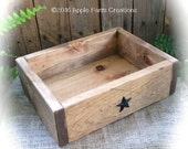 Medium Catch-all Wooden Valet Tray with Small Metal Barn Stars - Organization, Distressed, Rustic Country, Farmhouse Antique Look