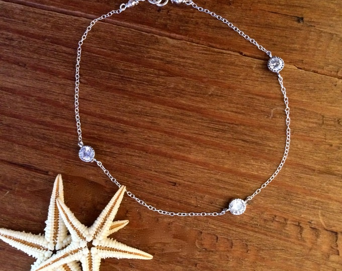 Sterling Silver Bracelet Diamond CZ Bracelet Silver Chain Minimal Bridal Gift for Her Bridesmaid Delicate Anklet Layer Diamonds by the Yard