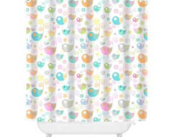 Kids Shower Curtain, Birds Shower, Pretty Bathroom Decor Girls Shower  Curtain Baby Girl Bathroom  Kids Shower Curtain