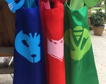Personalized PJ masks cape and mask set ~ PJ Masks Costume ~ Gekko, Catboy & Owlette birthday party favors, - superhero capes