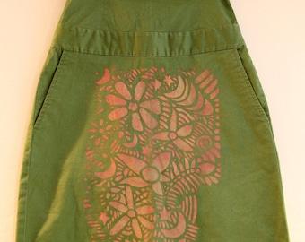 Green summer dress serigraph hand patterns