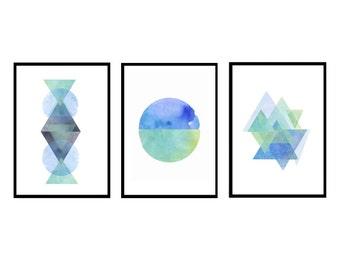 Set of 3 prints, Abstract prints set, Watercolor prints, Abstract Watercolor painting, Minimalist art, Scandinavian art, Large art, Minimal