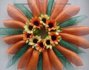 Summer Deco Mesh Wreath/DecoMesh/Summer Door Decor/Sunflower Wreath/Spring Door Wreath/Spring Wreath/Summer Mesh Wreath/Summer Wreaths