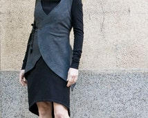 Fall Jacket, Wrap Jacket, Short Womens Jacket, Sleeveless Jacket, Grey Cardigan, Womens Blazer, Japanese Fashion, Womens Outerwear