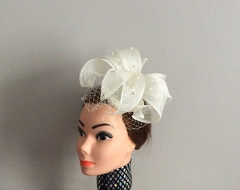 White Fascinator with veil
