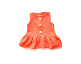 Baby girl dress. Coral baby dress. Sleeveless baby dress. Baby dress handmade. Knitted baby dress. Summer baby dress. Spring clothes baby.