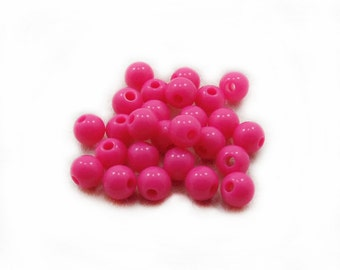 6mm Fuchsia Plastic Beads, Fuchsia Plastic Beads, Plastic Beads, 20 pcs Fuchsia Plastic Beads, Jewerly Making, Craft Supplies