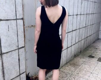 90s V-back Dress / 90s Black Velour Dress