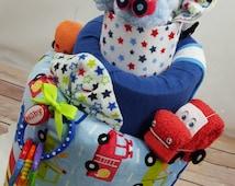 Car Diaper Cake, Topsy Turvy Diaper Cake , Car Baby Shower, Diaper Cake for Boys, Blue Diaper Cake, Made to order