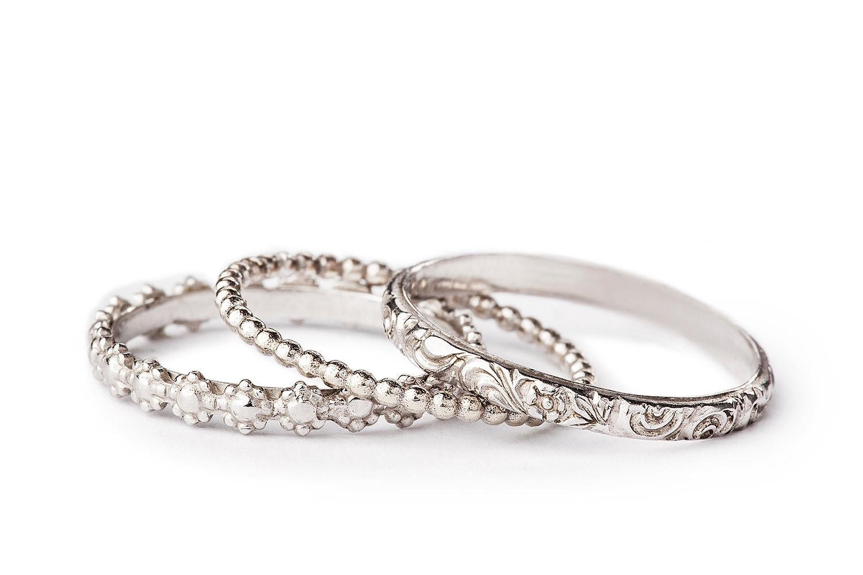set of 3 stacking wedding rings for women in 14k white gold. Black Bedroom Furniture Sets. Home Design Ideas