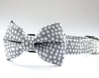 Handmade Dog Bow Tie, Grey Spotty Cotton Fabric, Slides Over Existing Collar.